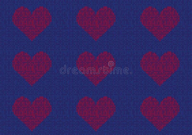 Patroon van Hartvorm van binaire aantallen wordt gemaakt dat stock illustratie