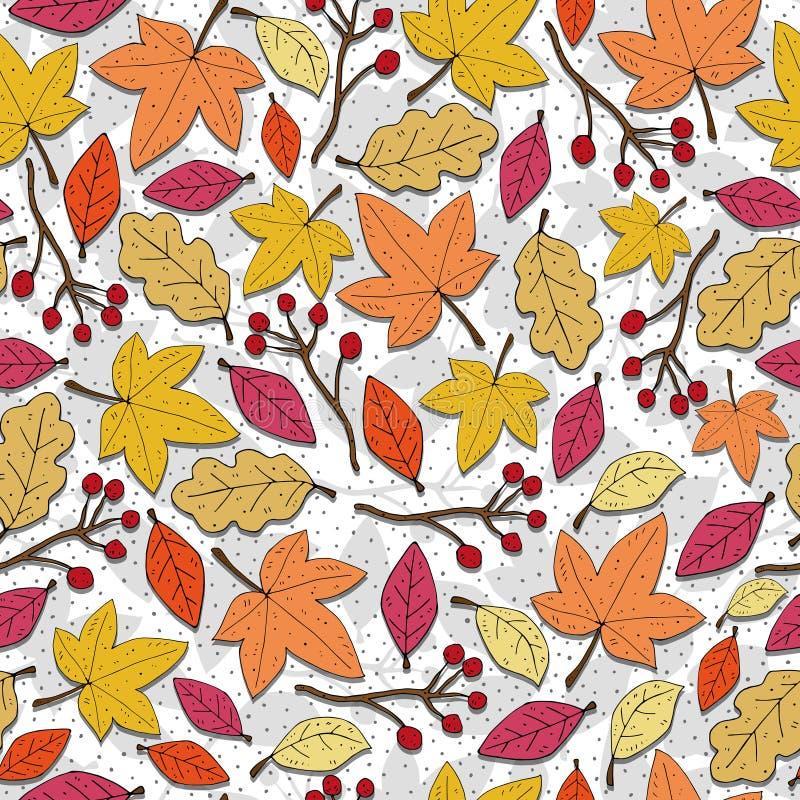 Patroon van het de herfst het naadloze seizoengebonden beeldverhaal met bladeren, takjes, decoratieve elementen Kleurrijke vector stock illustratie