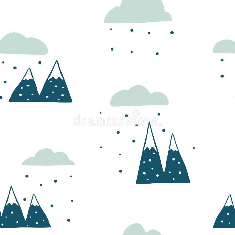 Patroon van het de winter het naadloze landschap royalty-vrije illustratie