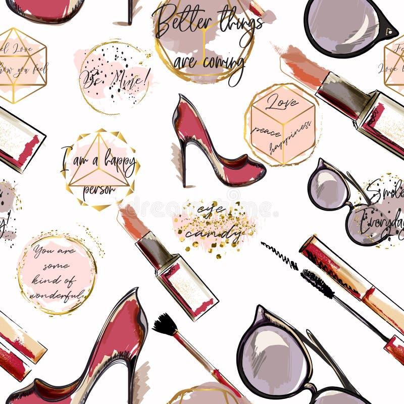 Patroon van het in manier het vectorbehang met schoonheidsmiddelen, schoenen, royalty-vrije illustratie