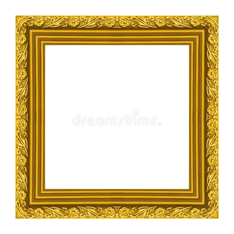 Patroon van het omlijsting het houten gesneden die kader op witte achtergrond wordt geïsoleerd stock afbeelding
