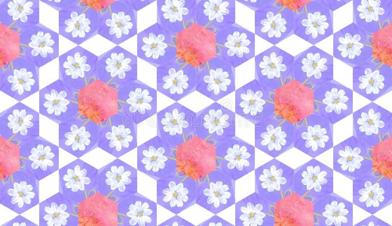 Patroon van het waterverf het naadloze lapwerk met witte bloemen stock illustratie