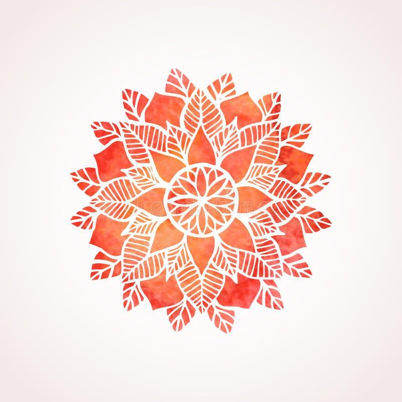 Patroon van het waterverf het rode kant Vector element mandala royalty-vrije illustratie