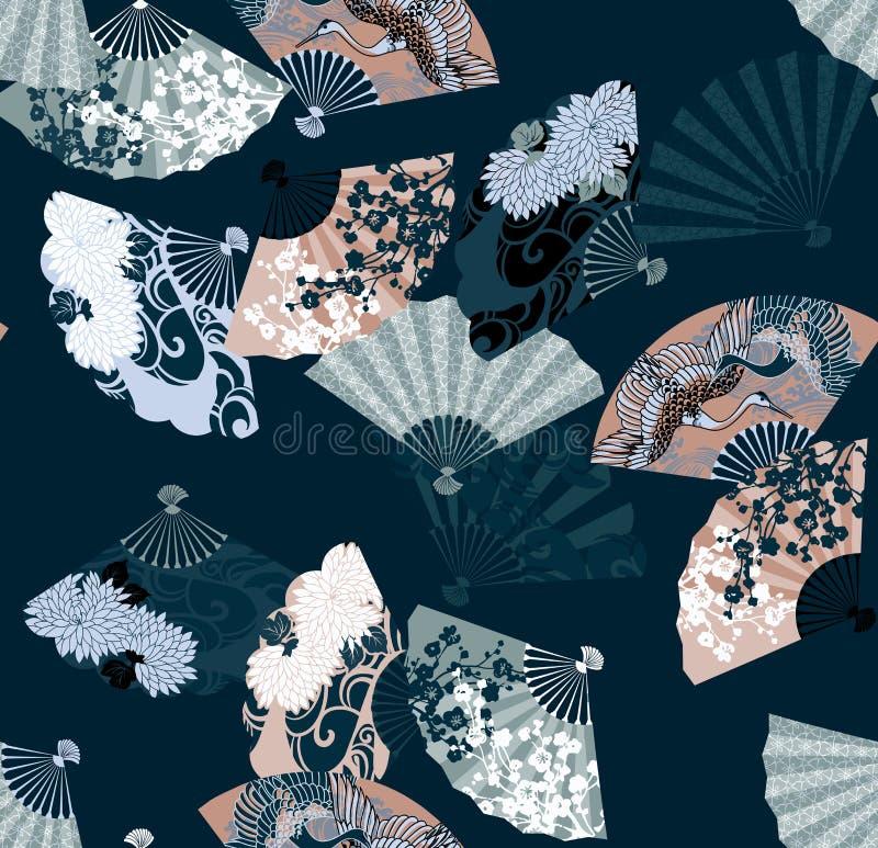 Patroon van Japanse ventilators die sakura, chrysanten en kranen kenmerken stock illustratie