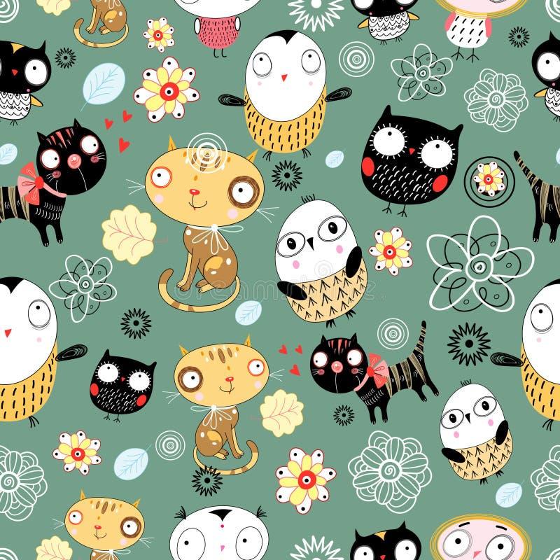 Patroon van katten en uilen stock illustratie