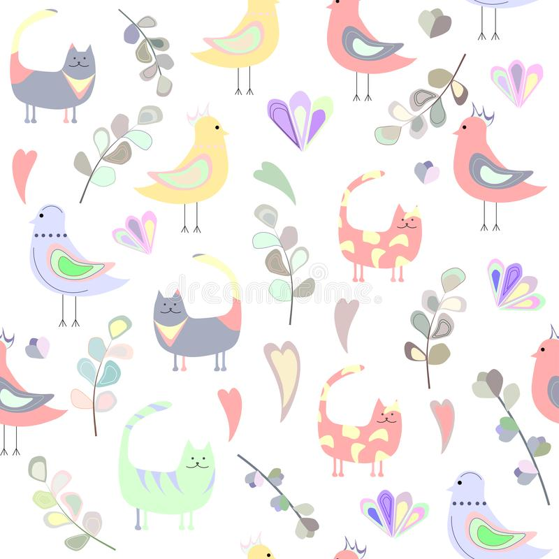 Patroon van katten, vogels, bladeren en harten, gekleurde harten royalty-vrije illustratie