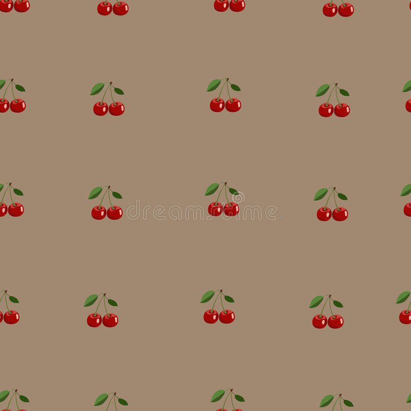 Patroon van kleine rode kers met bladeren op bruine achtergrond vector illustratie