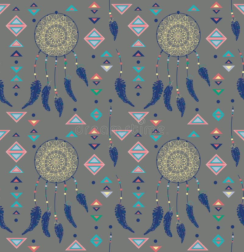 Patroon van kleurenindianen dreamcatcher royalty-vrije illustratie