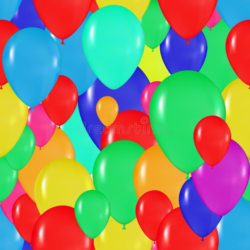 Patroon van kleurrijke ballons in de stijl van realisme voor ontwerpkaarten, verjaardagen, huwelijken, fiesta, vakantie, stock illustratie