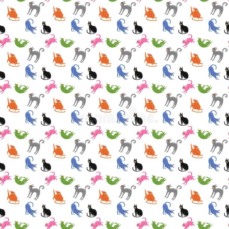 Patroon van kleurrijke katten royalty-vrije stock afbeeldingen