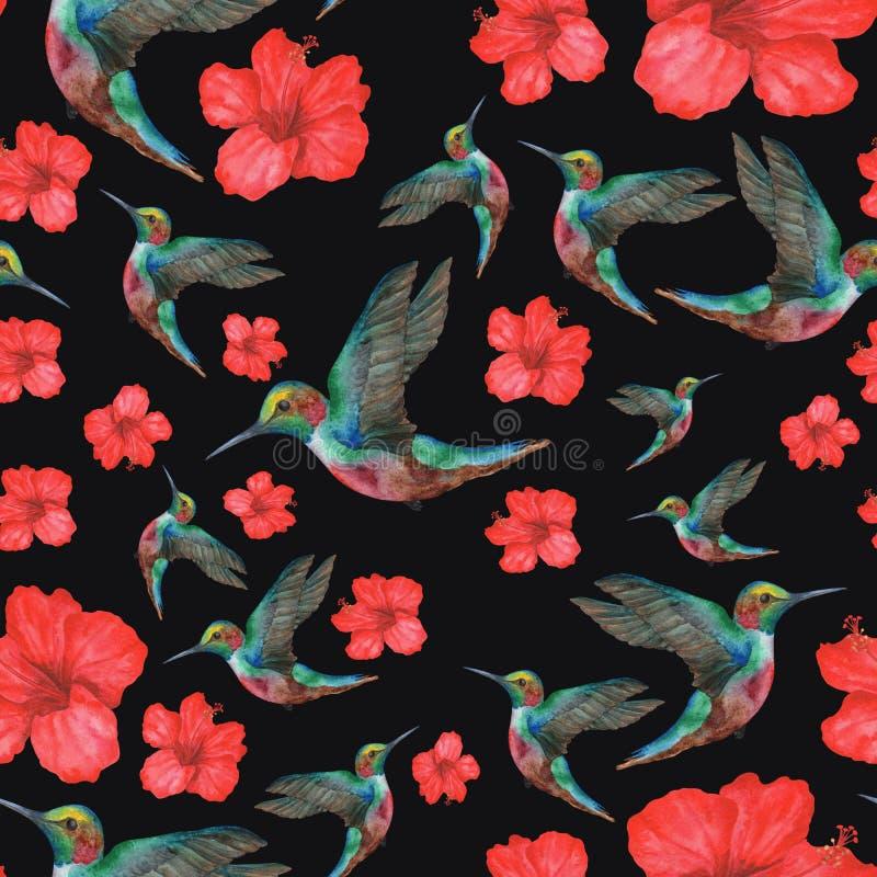 Patroon van Kolibrie met bloem vector illustratie