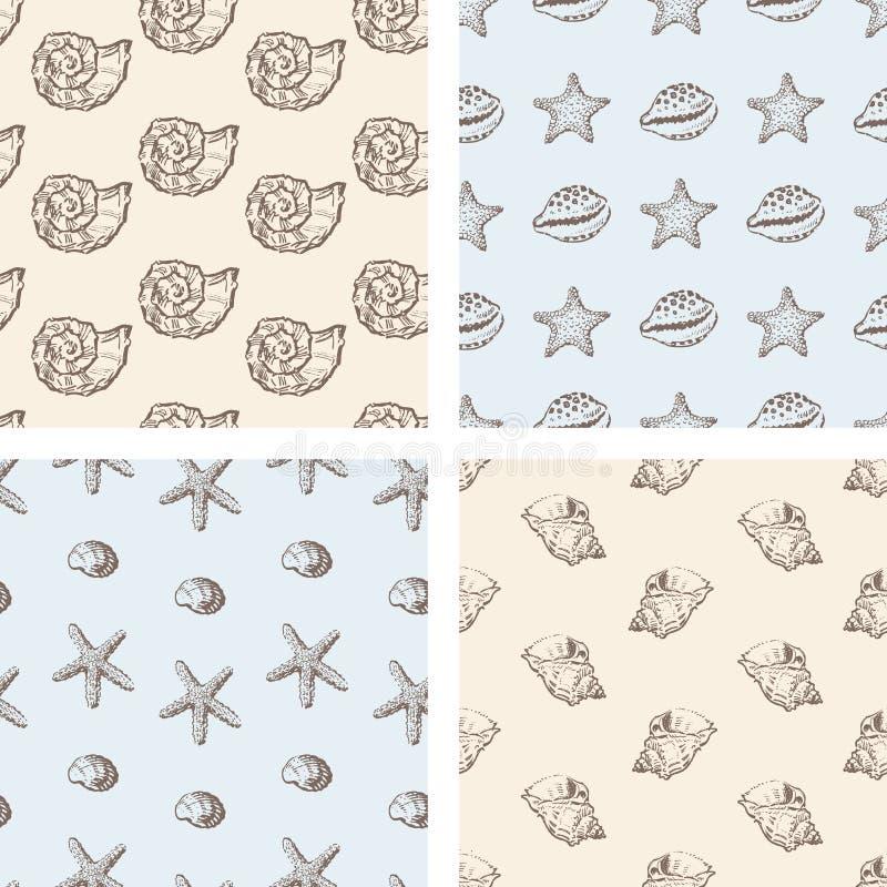 Patroon van overzeese shells royalty-vrije illustratie