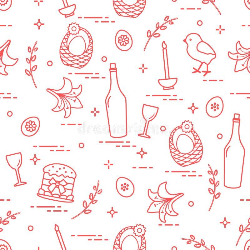 Patroon van Pasen-symbolen: Pasen-cake, kuiken, lelie, manden, b.v. vector illustratie