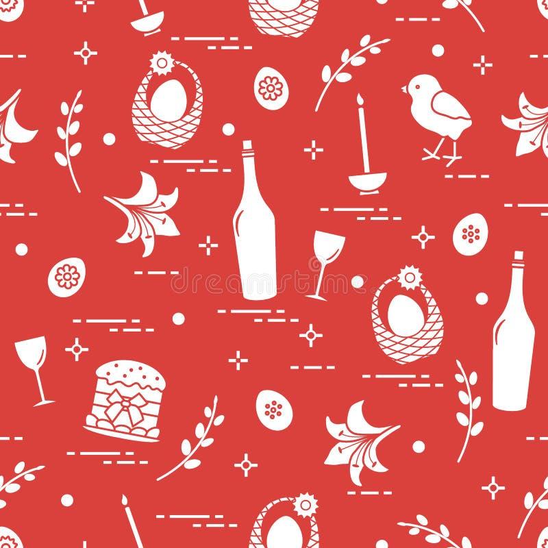 Patroon van Pasen-symbolen: Pasen-cake, kuiken, lelie, manden, b.v. stock illustratie