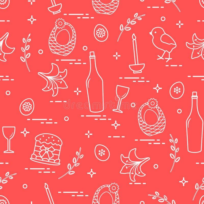 Patroon van Pasen-symbolen: Pasen-cake, kuiken, lelie, manden, b.v. royalty-vrije illustratie