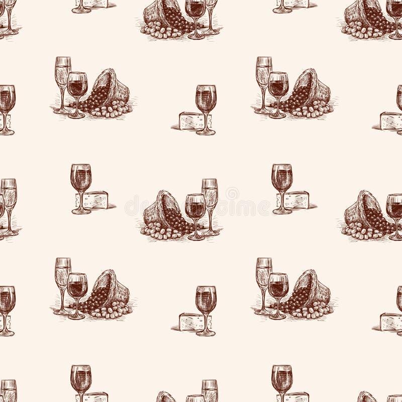 Patroon van schetsen van wijnglazen met kaas en druif stock illustratie