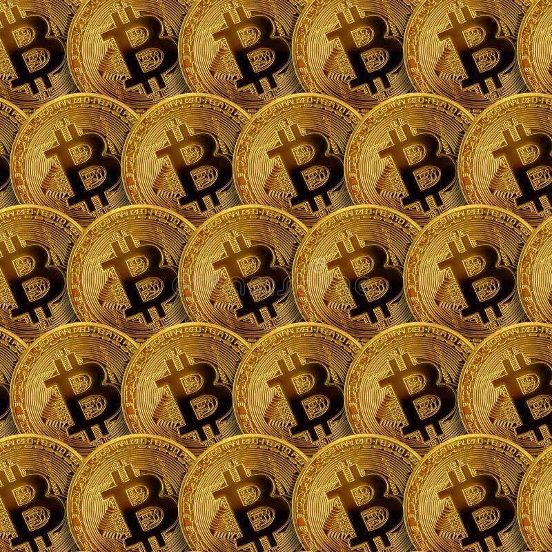 Patroon van vele gouden bitcoins Het concept van de Cryptocurrencymijnbouw stock foto's