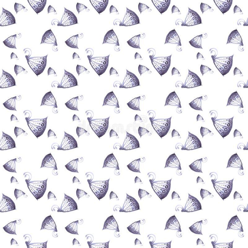 Patroon van vlinders en Naadloze bloemen van blauw, royalty-vrije stock afbeeldingen