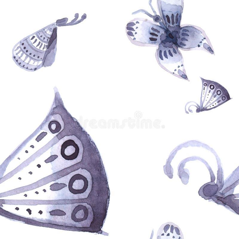 Patroon van vlinders en Naadloze bloemen van blauw, stock afbeeldingen