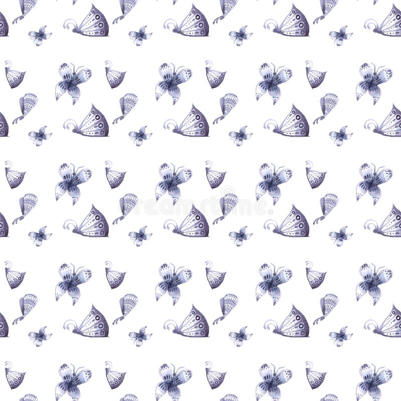 Patroon van vlinders en Naadloze bloemen van blauw, royalty-vrije stock foto