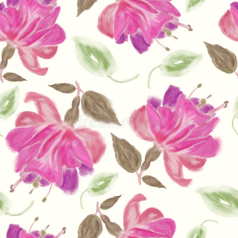 patroon van waterverf Fuchsiakleurig Bloemen stock illustratie