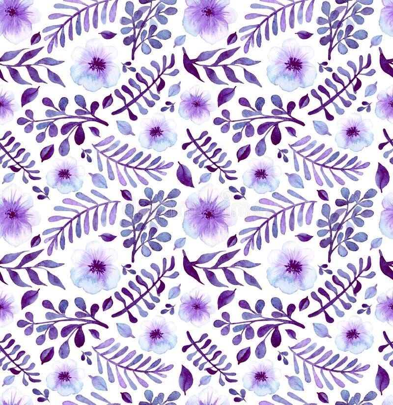 Patroon van waterverf het Heldere Violet Flowers And Leaves Seamless stock illustratie