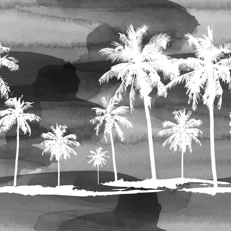 Patroon van waterverfpalmen royalty-vrije illustratie