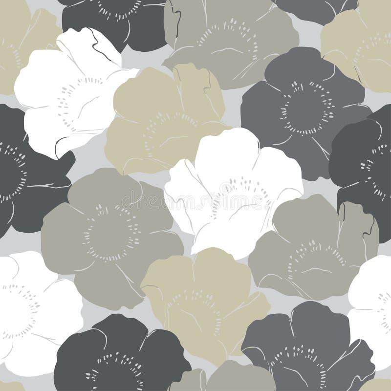 patroon van witte grijze en beige rozen royalty-vrije illustratie