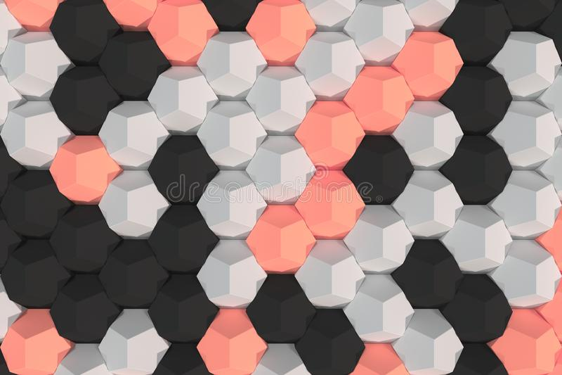 Patroon van witte, rode en zwarte hexagonale elementen royalty-vrije illustratie