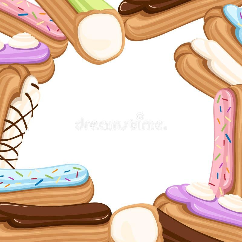 Patroon van Zoet en yummy roomeclair dessert Chouxgebakje met room wordt gevuld die Vlakke illustratie op witte achtergrond stock illustratie