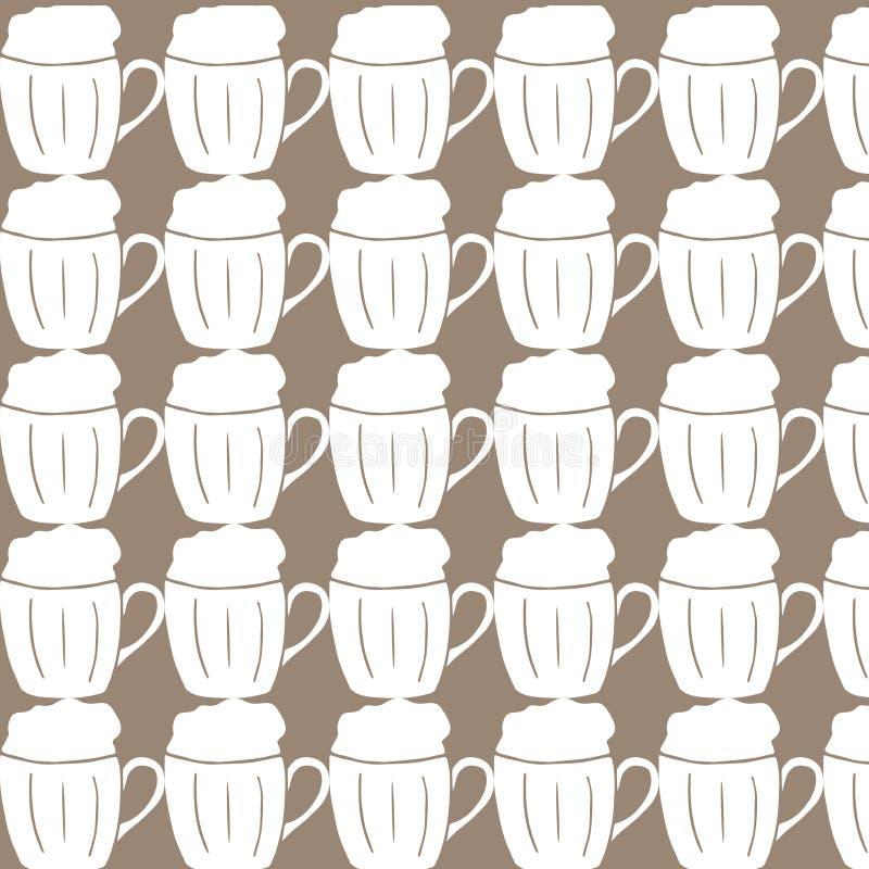 Patroon vectorbeeld van mok van bierdrank met heel wat schuim lettering vector illustratie