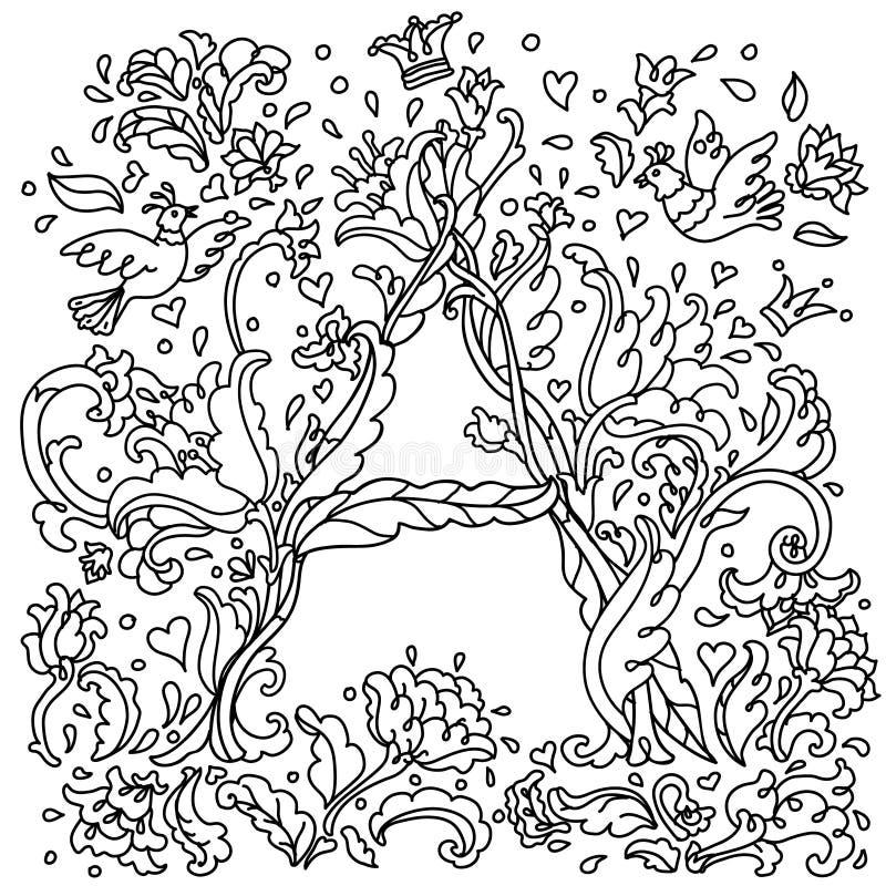 Patroon voor het kleuren van boekbrief a royalty-vrije illustratie