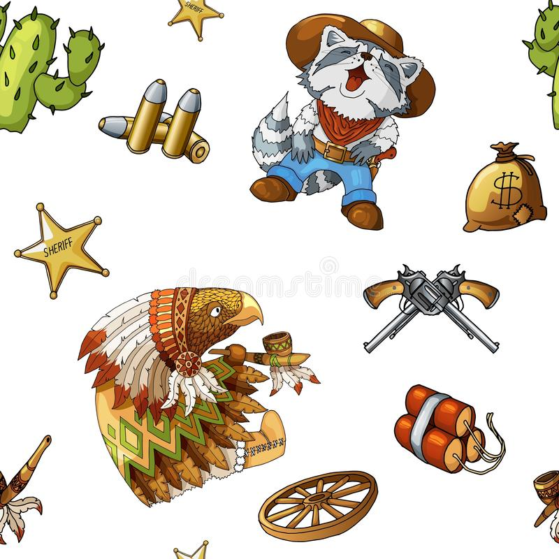 Patroon westelijke en rodeo naadloos als achtergrond met gekleurde vectorelementen royalty-vrije illustratie