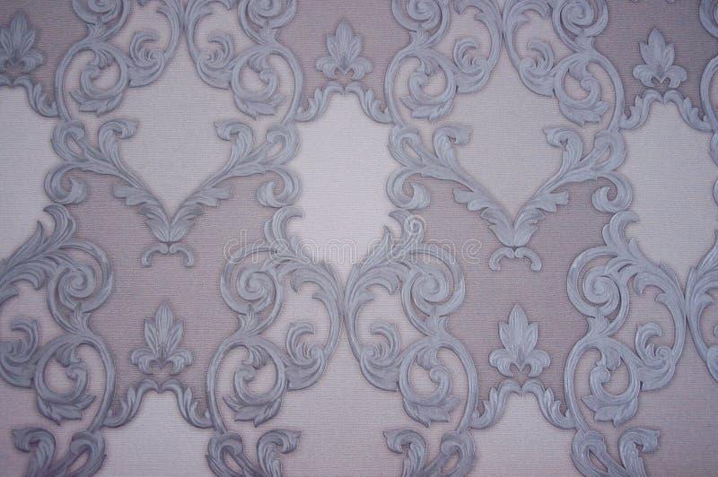 Patroon Witte en grijze whorls en krommen op papier stock foto