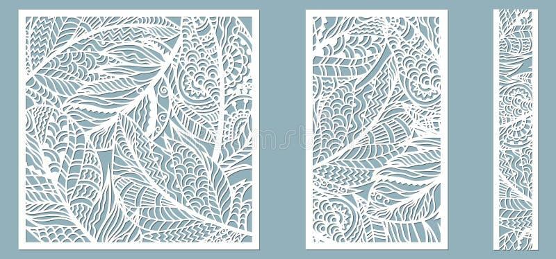 Patroonkader met veren Lijn, rechthoek, vierkant als patroon van veren Malplaatje voor laser, plotterknipsel vector illustratie