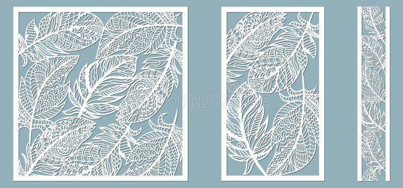 Patroonkader met veren Lijn, rechthoek, vierkant als patroon van veren Malplaatje voor laser, plotterknipsel stock illustratie