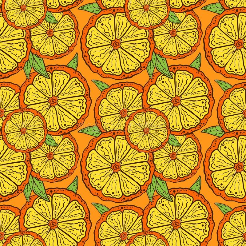 Patroonplakken van sinaasappel op een oranje achtergrond stock illustratie