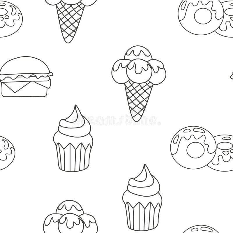Patroonroomijs, Cupcake, doughnut Achtergrond van textuurdessert Naadloze Achtergrond Vectorillustratie eps 10 voor vector illustratie