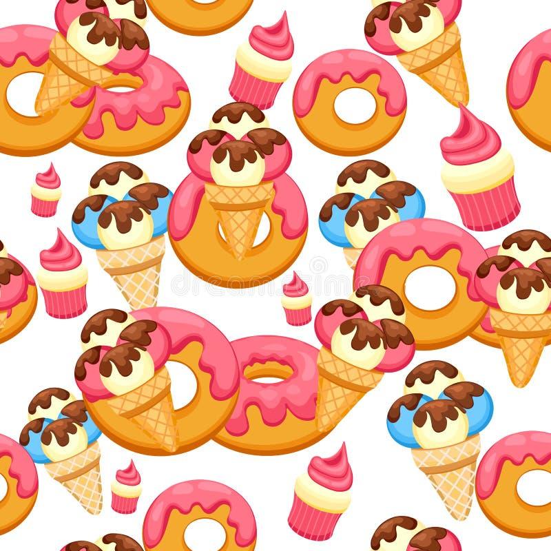 Patroonroomijs en doughnut met roze glans vectorillustratie eps 10 Achtergrond van het Roomijsdessert van de textuurvanille royalty-vrije illustratie