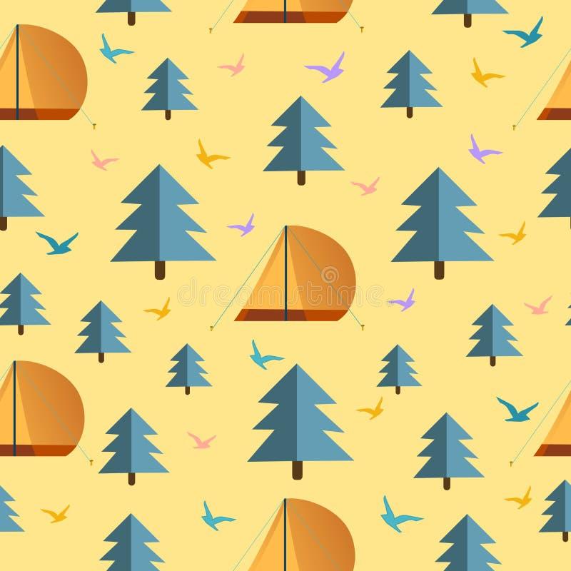 Patroontextuur met vogels, boom en het kamperen de vectorillustratie van het tentontwerp, reisstijl stock illustratie