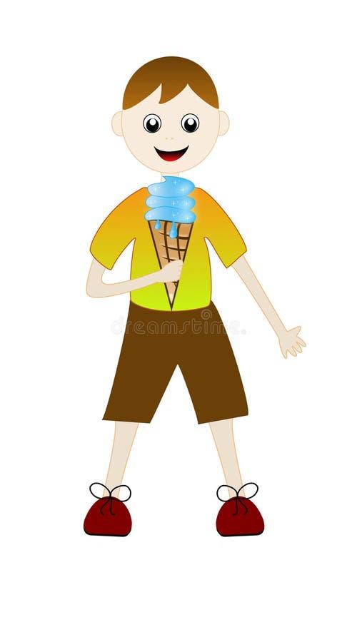 Patroszona chłopiec z słodkim deserem w ręce royalty ilustracja