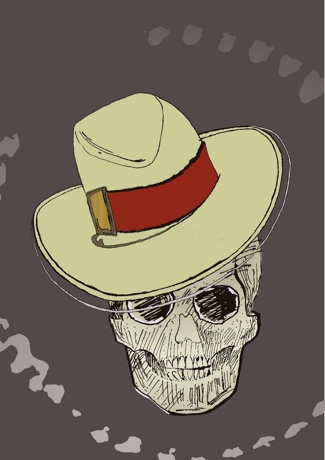 patroszona Halloween atramentu czaszka ilustracja wektor