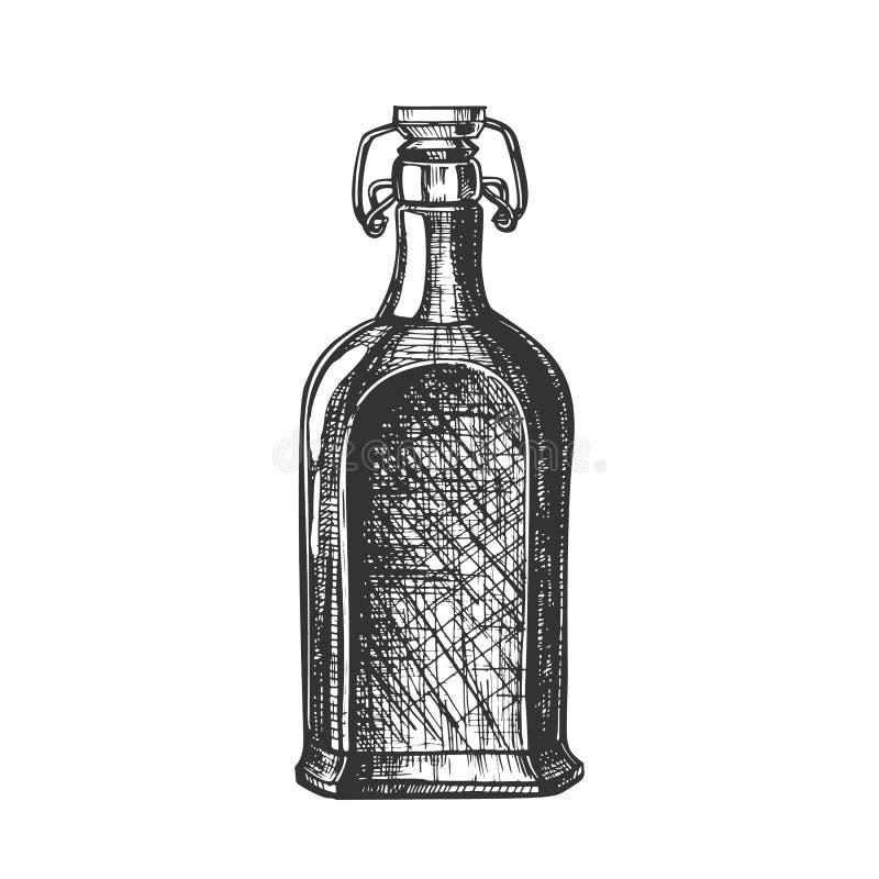 Patroszona Pusta Whisky butelka Z trzepnięcie nakrętki wektorem royalty ilustracja