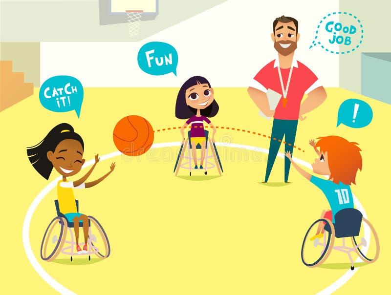 patroszona ręka odizolowywający lekci szkoły wektoru biel Niepełnosprawni dzieciaki Chłopiec i dziewczyny w wózkach inwalidzkich  ilustracji