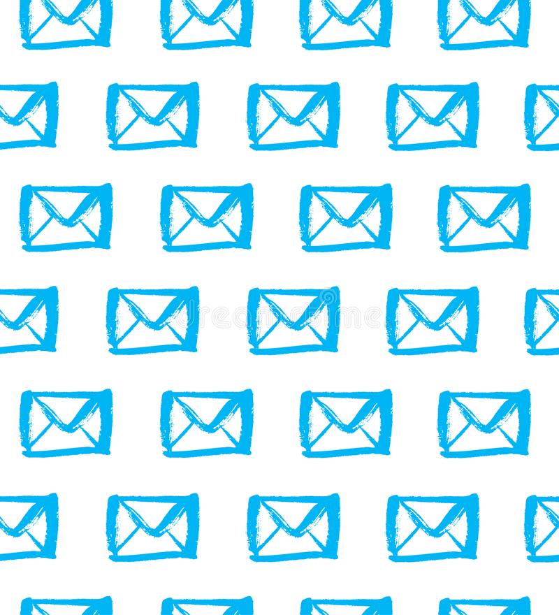 Patroszone błękitne sylwetki listy na białym tle Bezszwowy poczta wzór ilustracji