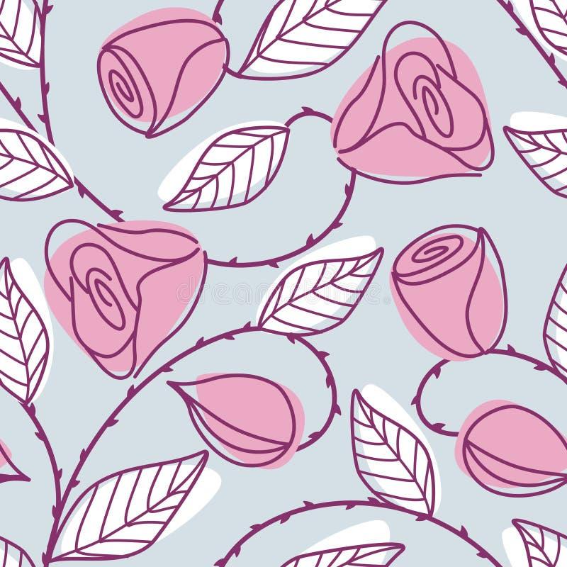 patroszone ręki wzoru menchii róże bezszwowe ilustracji