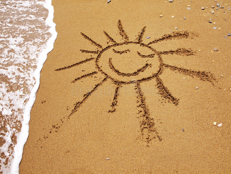 patroszonego piaska uśmiechnięty słońce obraz stock