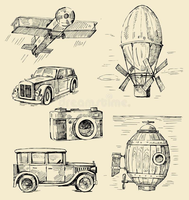 patroszonej ręki starzy czas ilustracji