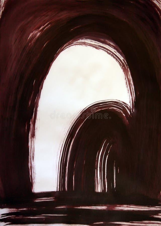 Patroszony abstrakta łuk w łuku harmonijny piękno perspektywy, zdjęcia stock