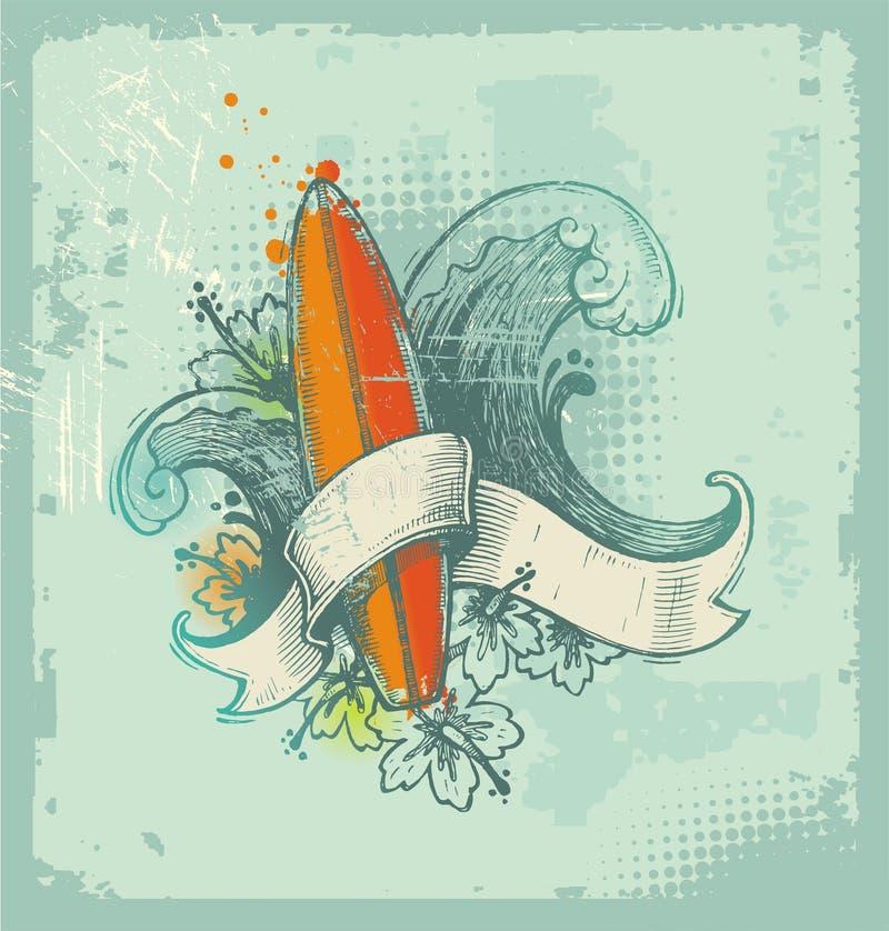 patroszony emblemata ręki surfing ilustracja wektor